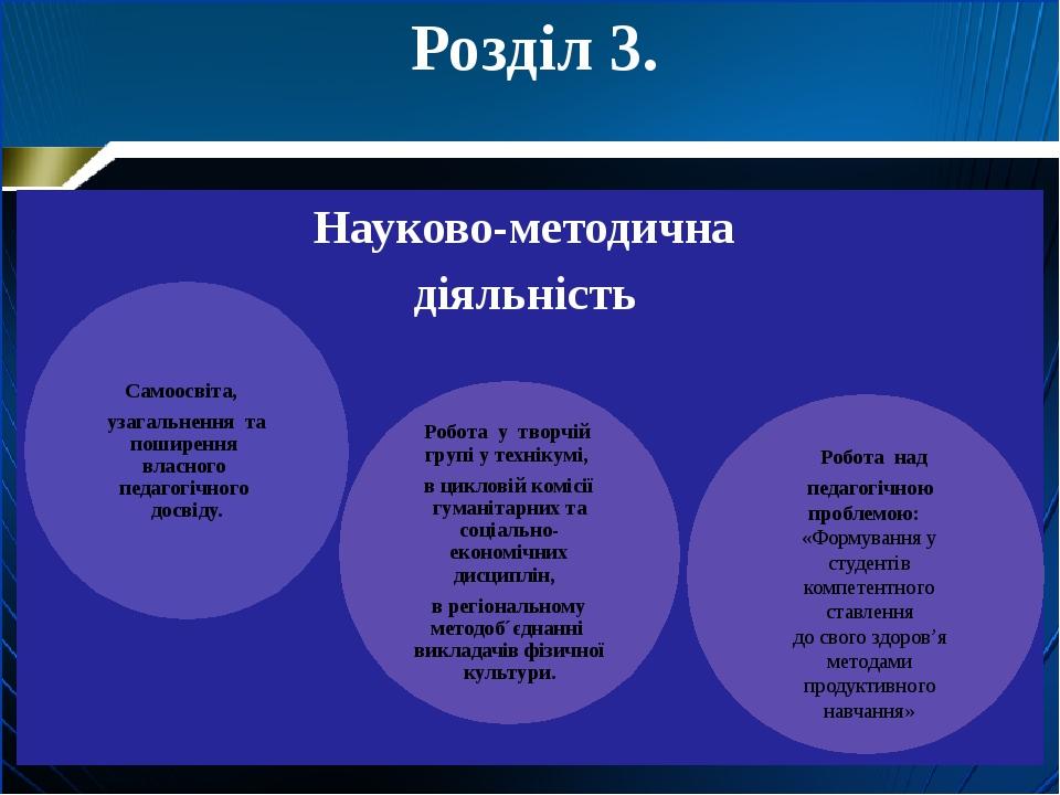 Розділ 3. Науково-методична діяльність Робота над педагогічною проблемою: «Фо...