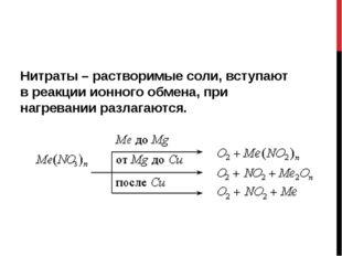 Нитраты – растворимые соли, вступают в реакции ионного обмена, при нагревани