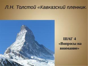 ШАГ 4 «Вопросы на внимание» Л.Н. Толстой «Кавказский пленник»