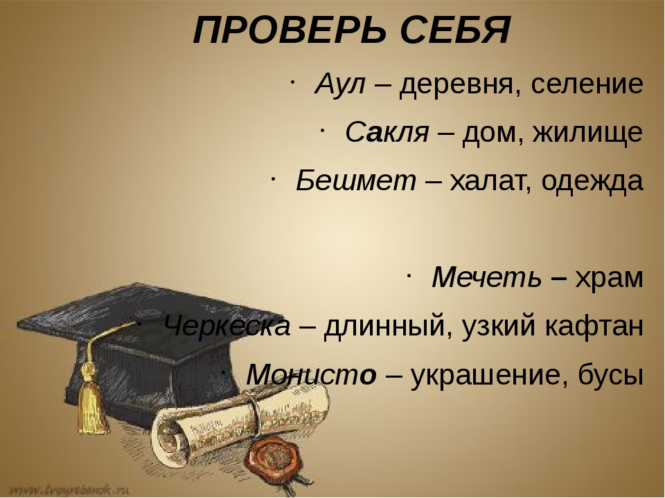 ПРОВЕРЬ СЕБЯ Аул – деревня, селение Сакля – дом, жилище Бешмет – халат, одежд...