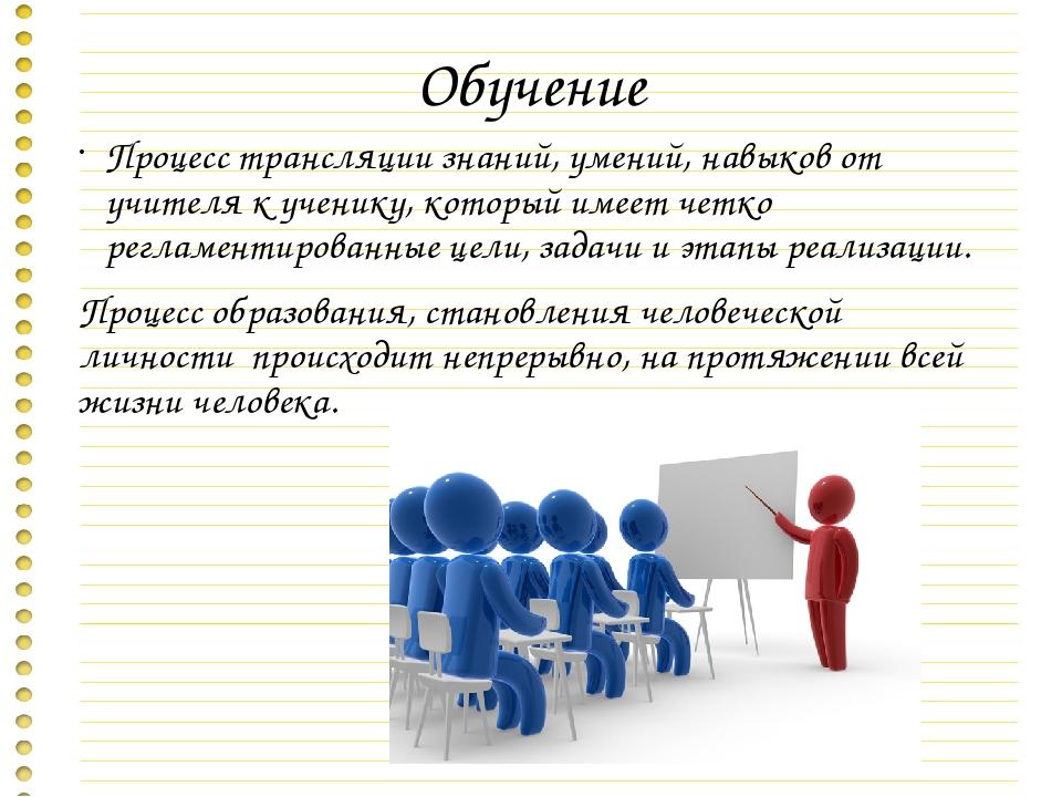Обучение Процесс трансляции знаний, умений, навыков от учителя к ученику, кот...