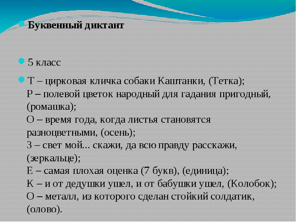 Буквенный диктант  5 класс Т – цирковая кличка собаки Каштанки, (Тетка); Р –...