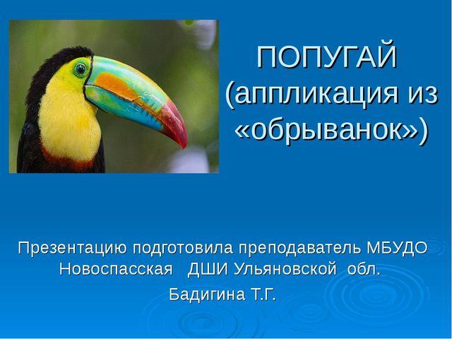 ПОПУГАЙ (аппликация из «обрыванок») Презентацию подготовила преподаватель МБУ...