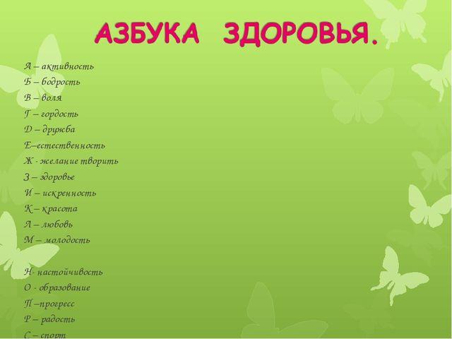 А – активность Б – бодрость В – воля Г – гордость Д – дружба Е–естественность...