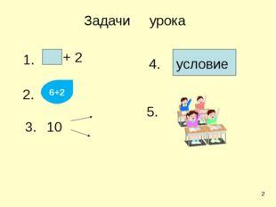 1. + 2 2. 10 3. 6+2 условие 4. 5. Задачи урока