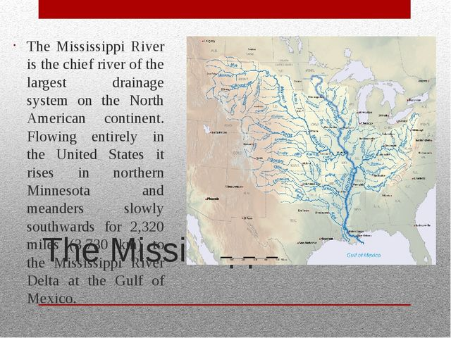 The Mississippi The Mississippi River is the chief river of the largest drain...