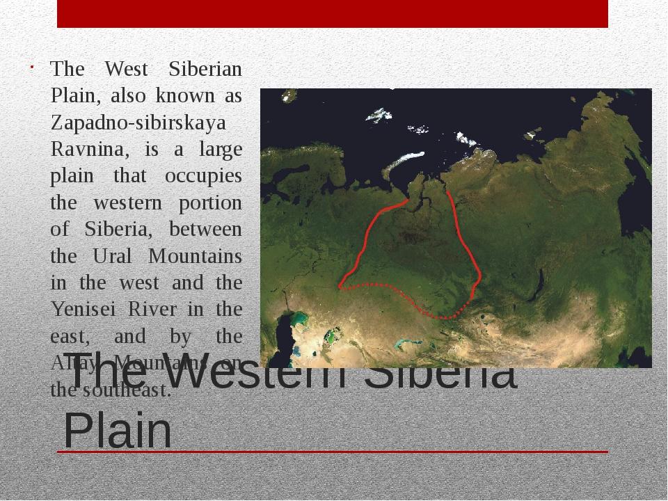 The Western Siberia Plain The West Siberian Plain, also known as Zapadno-sibi...