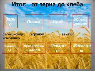 Итог: от зерна до хлеба селекционер агроном авиатор комбайнер рабочие мукомол