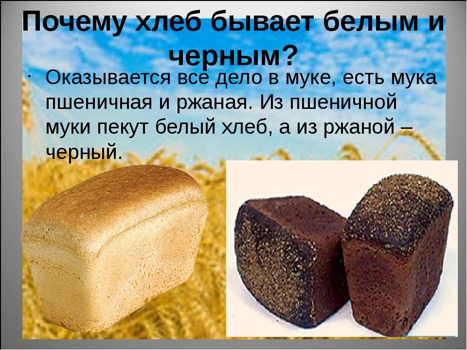 Почему хлеб бывает белым и черным? Оказывается все дело в муке, есть мука пше...