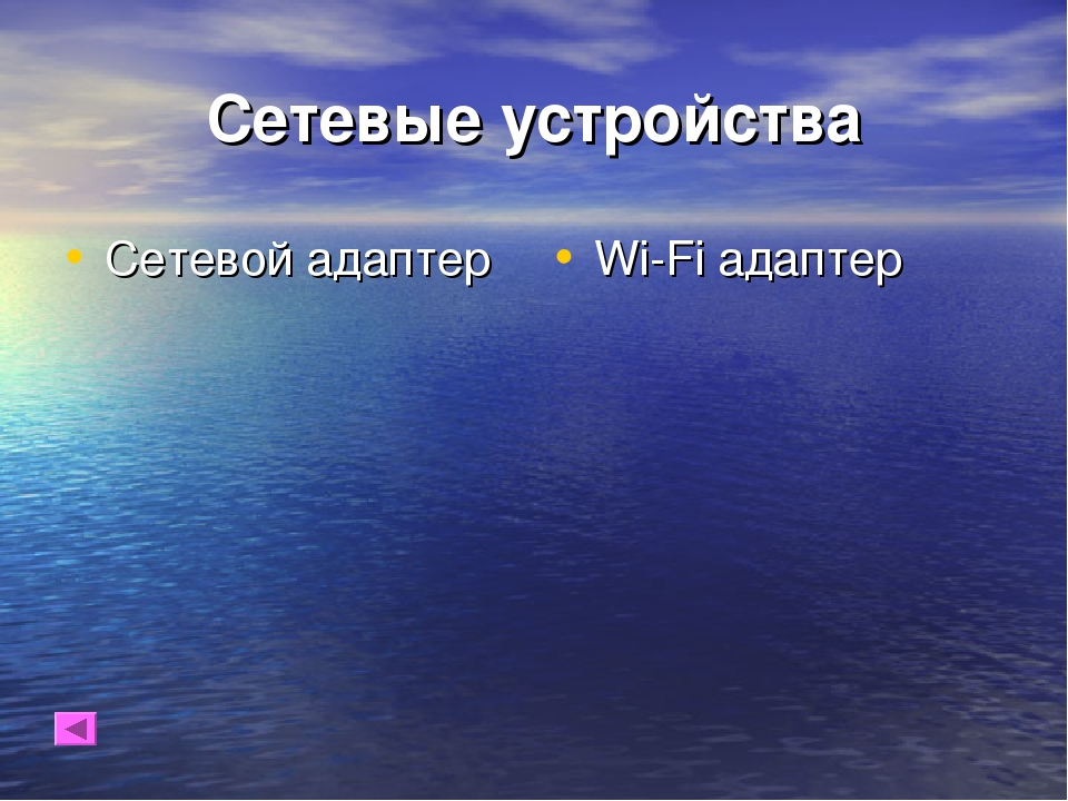 Сетевые устройства Сетевой адаптер Wi-Fi адаптер