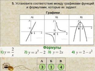 5.Установите соответствие между графиками функций и формулами, которые их за