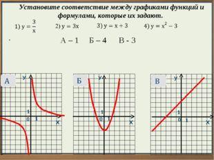 У У У Х Х Х 0 0 0  Установите соответствие между графиками функций и формула