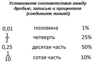 Установите соответствие между дробью, записью и процентом (соедините линией)