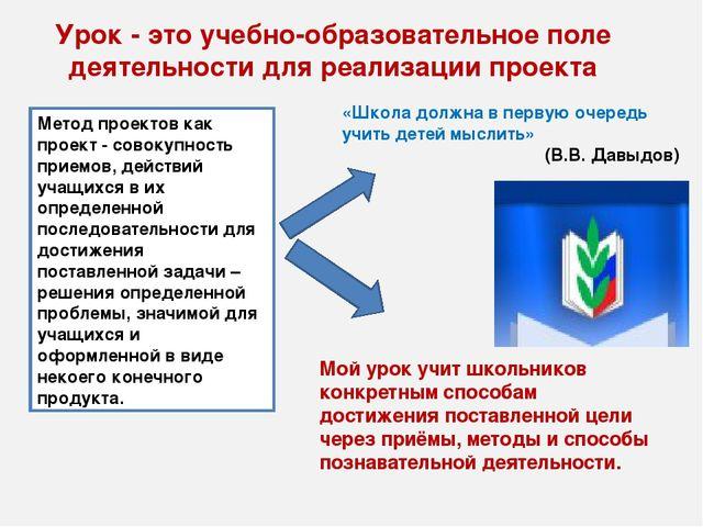 Урок - это учебно-образовательное поле деятельности для реализации проекта Ме...