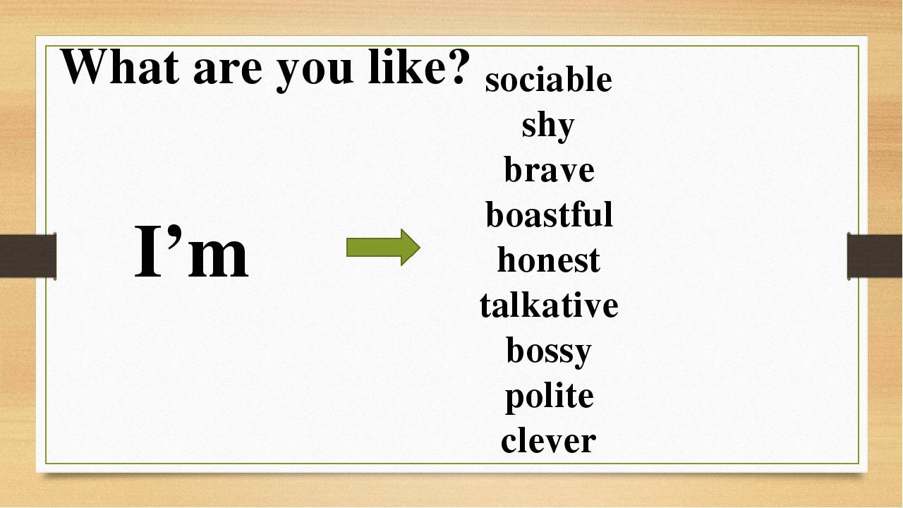 What are you like? I'm sociable shy brave boastful honest talkative bossy pol...