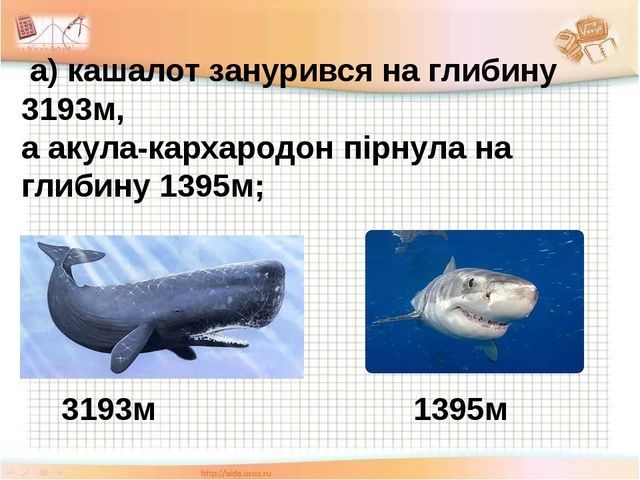 а) кашалот занурився на глибину 3193м, а акула-кархародон пірнула на глибину...