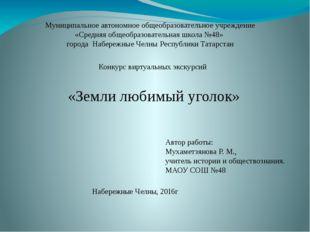 Муниципальное автономное общеобразовательное учреждение «Средняя общеобразова