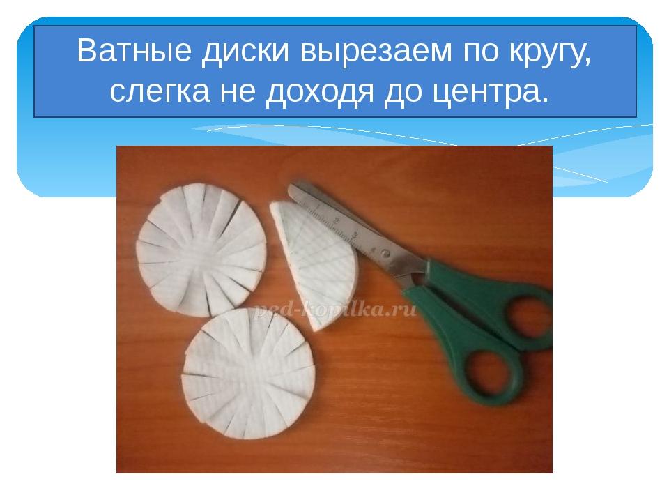 Ватные диски вырезаем по кругу, слегка не доходя до центра.