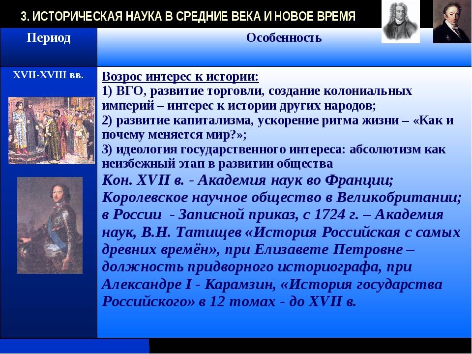 3. ИСТОРИЧЕСКАЯ НАУКА В СРЕДНИЕ ВЕКА И НОВОЕ ВРЕМЯ ПериодОсобенность XVII-XV...