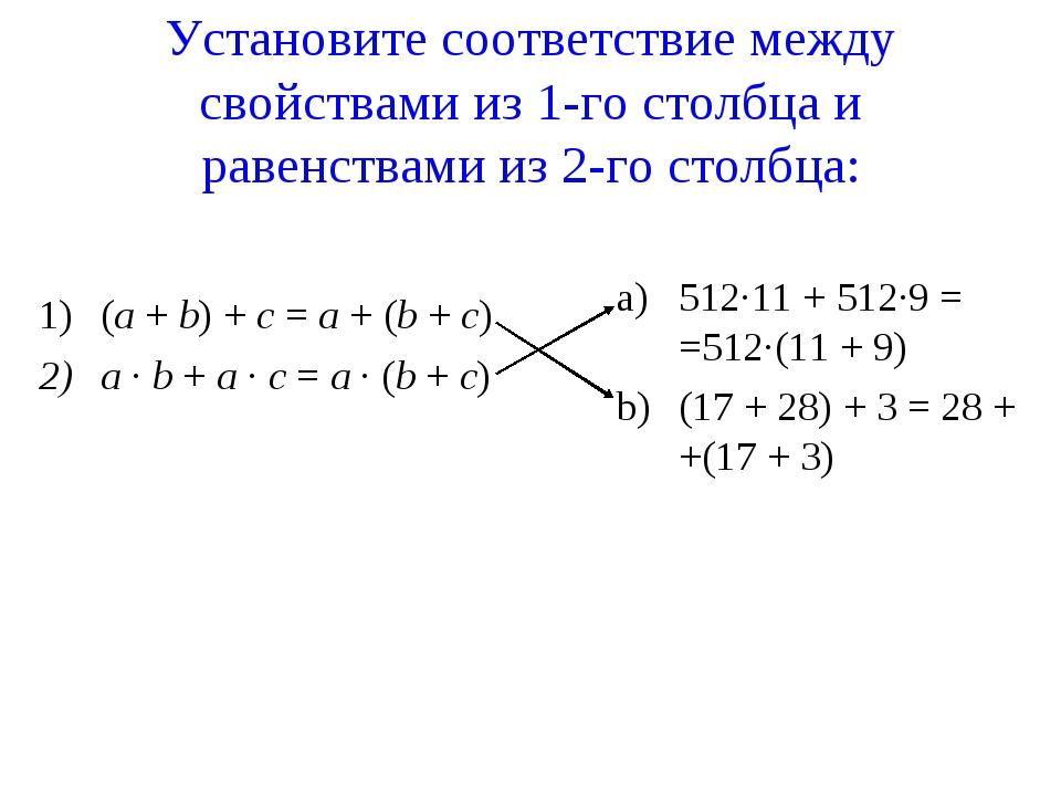 Установите соответствие между свойствами из 1-го столбца и равенствами из 2-г...