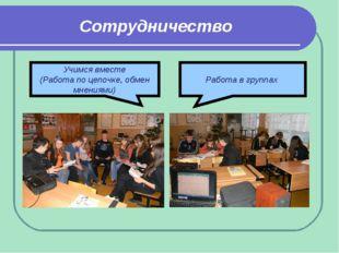 Сотрудничество Работа в группах Учимся вместе (Работа по цепочке, обмен мнени