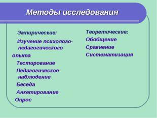 Методы исследования Эмпирические: Изучение психолого-педагогического опыта Те