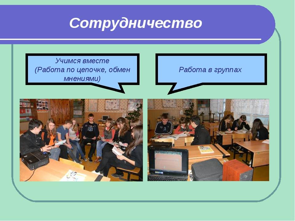 Сотрудничество Работа в группах Учимся вместе (Работа по цепочке, обмен мнени...