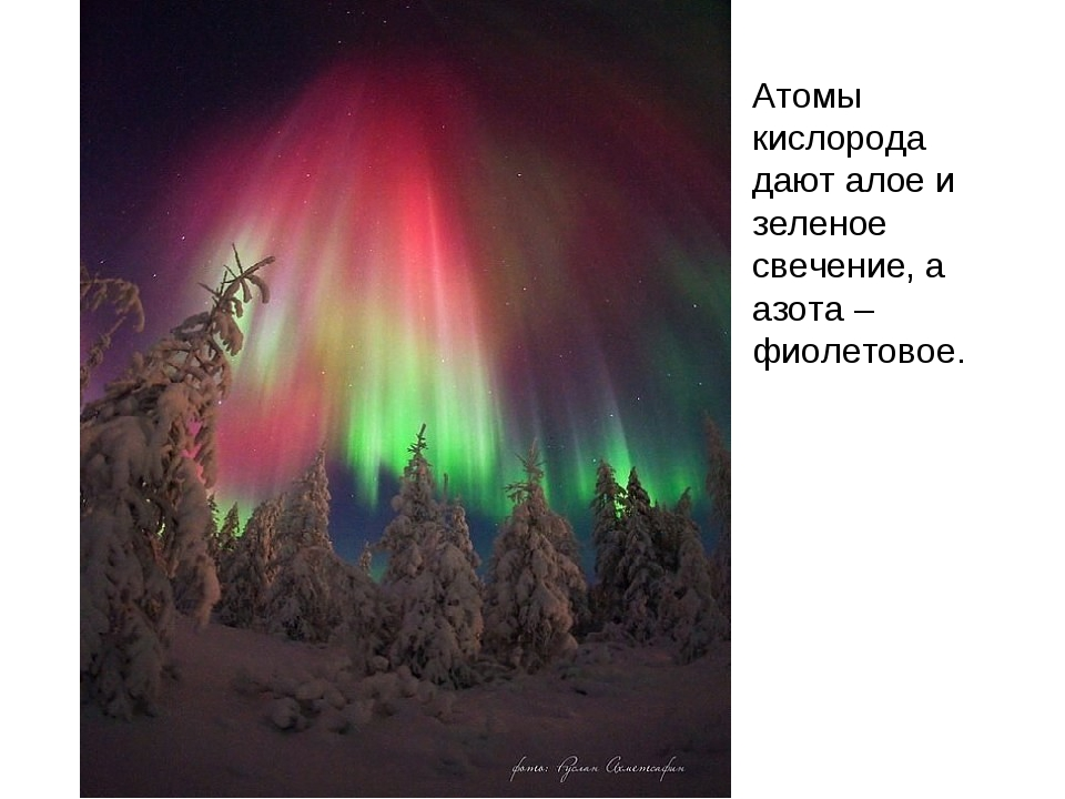 Атомы кислорода дают алое и зеленое свечение, а азота – фиолетовое.