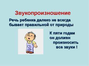 Звукопроизношение    Речь ребенка далеко не всегда бывает правильной от
