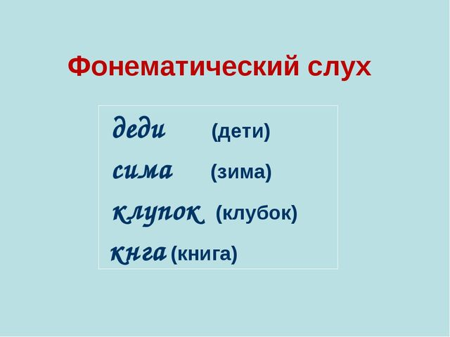 Фонематический слух   деди (дети) сима (зима) клупок (клубок) кнга (книг...