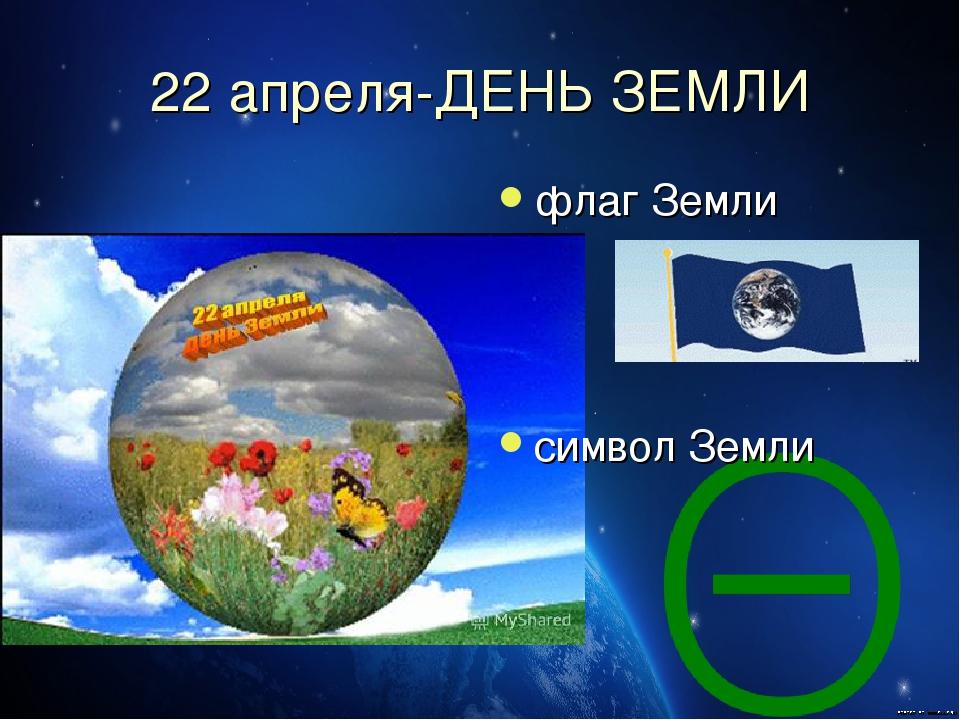 22 апреля-ДЕНЬ ЗЕМЛИ флаг Земли символ Земли