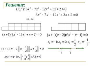 Решение: Возможные целые корни: Проверка показывает, что -1 и 2 - корни уравн