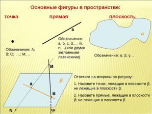 Основные фигуры в пространстве: точка прямая плоскость α β Обозначение: А; В;
