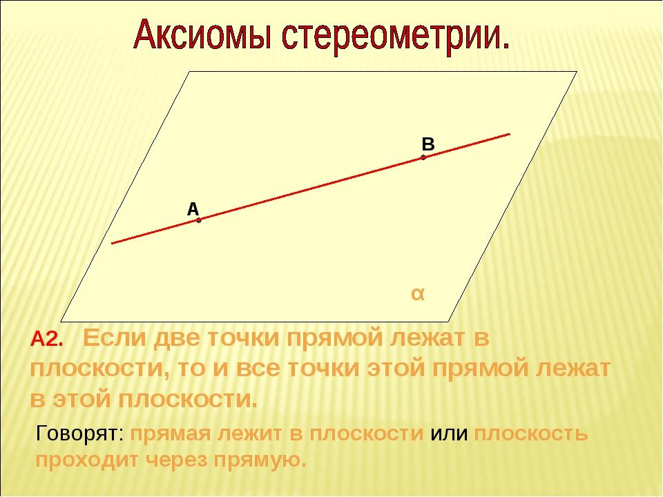А В α А2. Если две точки прямой лежат в плоскости, то и все точки этой прямой...