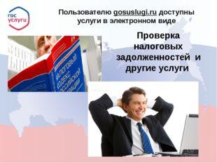 Пользователю gosuslugi.ru доступны услуги в электронном виде Проверка налого