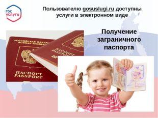 Пользователю gosuslugi.ru доступны услуги в электронном виде Получение загра