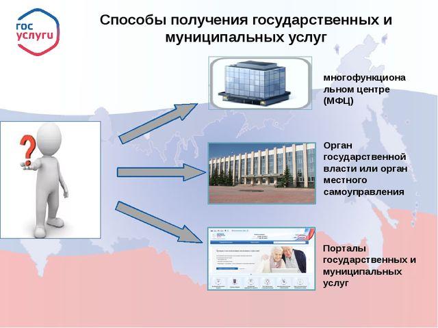 многофункциональном центре (МФЦ) Порталы государственных и муниципальных услу...