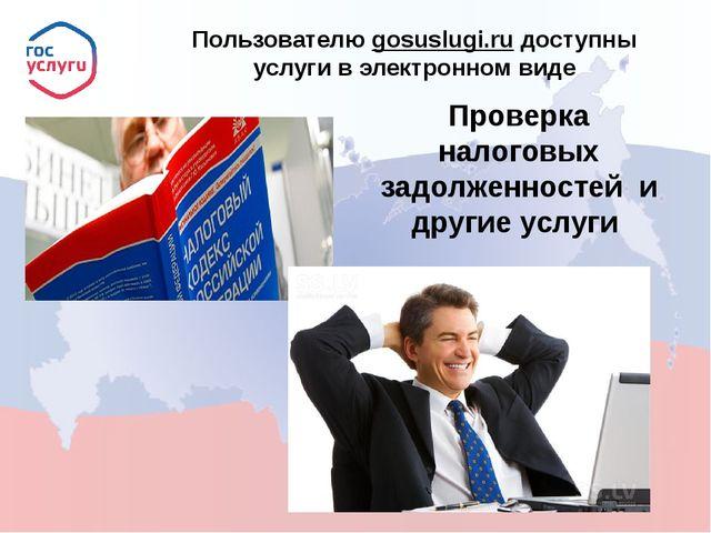 Пользователю gosuslugi.ru доступны услуги в электронном виде Проверка налого...