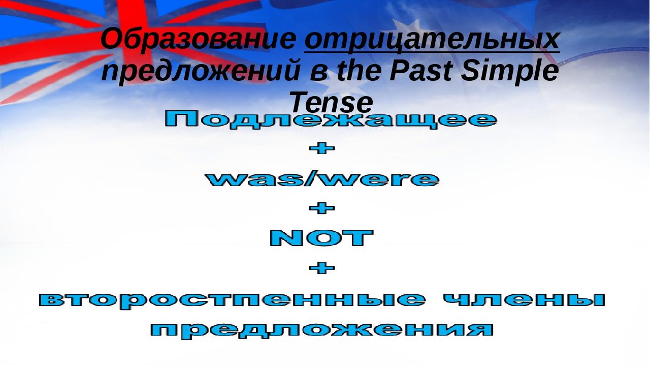 Образование отрицательных предложений в the Past Simple Tense