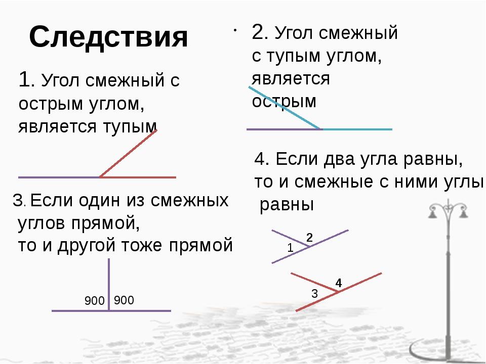 Следствия 1. Угол смежный с острым углом, является тупым 2. Угол смежный с ту...