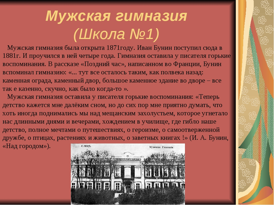 Мужская гимназия (Школа №1) Мужская гимназия была открыта 1871году. Иван Б...