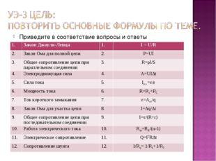 Приведите в соответствие вопросы и ответы 1.Закон Джоуля-Ленца 1.I = U/R 2