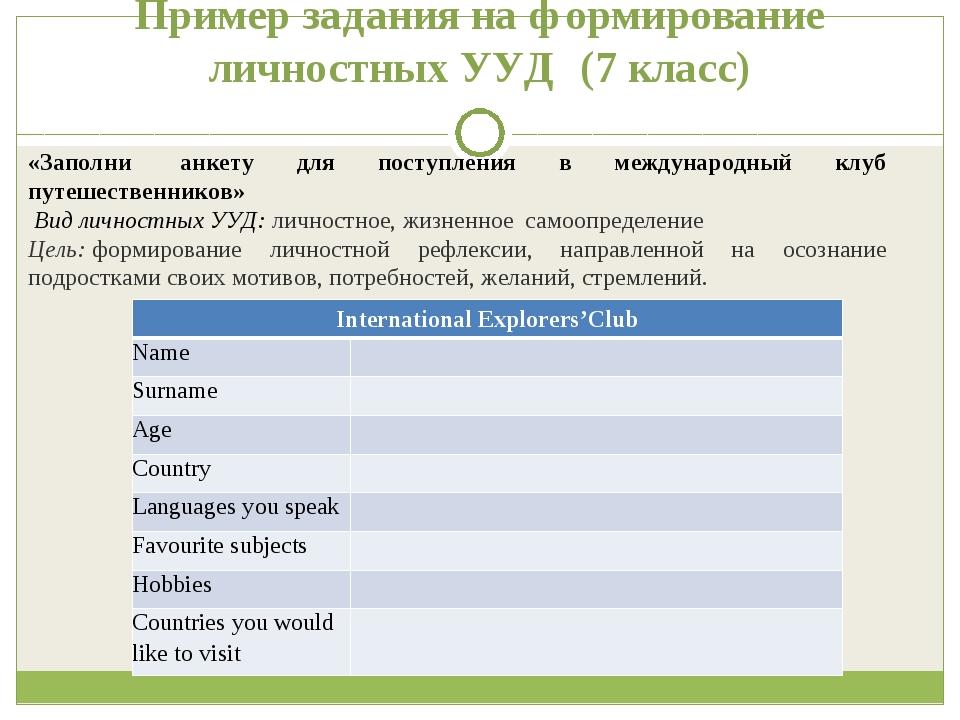 Пример задания на формирование личностных УУД (7 класс) «Заполни анкету для...