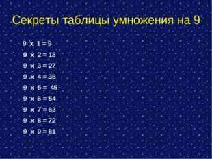 Секреты таблицы умножения на 9 9 х 1 = 9 9 х 2 = 18 9 х 3 = 27 9 х 4 = 36 9 х