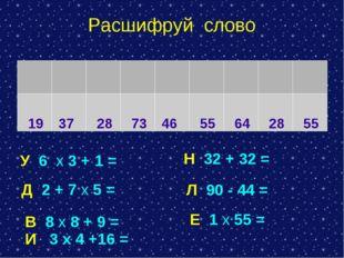 Расшифруй слово У 6 х 3 + 1 = Н 32 + 32 = Д 2 + 7 х 5 = В 8 х 8 + 9 = И 3 х 4