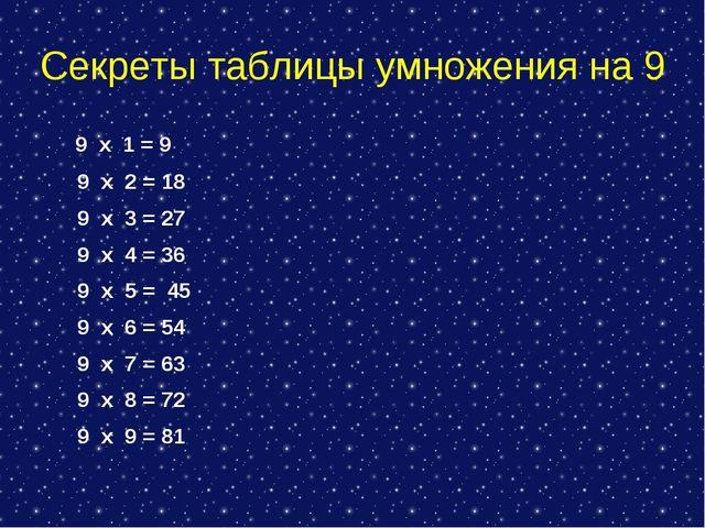Секреты таблицы умножения на 9 9 х 1 = 9 9 х 2 = 18 9 х 3 = 27 9 х 4 = 36 9 х...
