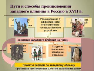 Пути и способы проникновения западного влияния в Россию в XVII в. Усиление За