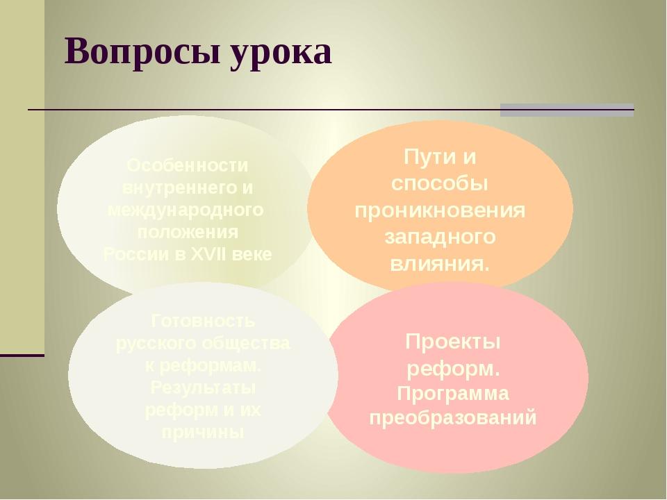 Вопросы урока Особенности внутреннего и международного положения России в XVI...