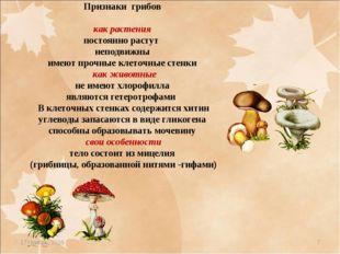 * * Признаки грибов как растения постоянно растут неподвижны имеют прочные кл