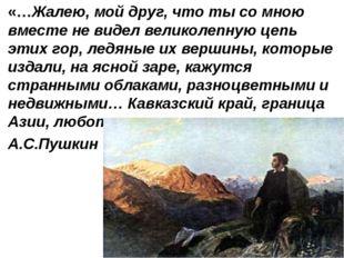 «…Жалею, мой друг, что ты со мною вместе не видел великолепную цепь этих гор,